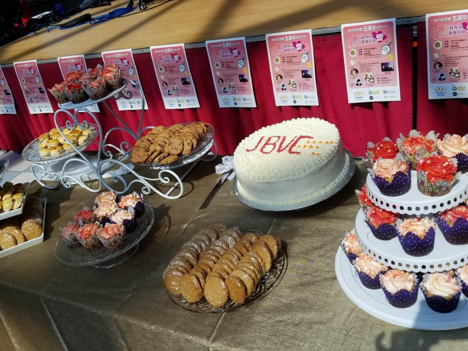 Dessert table full of cookies, cupcakes, scones and celebration cake