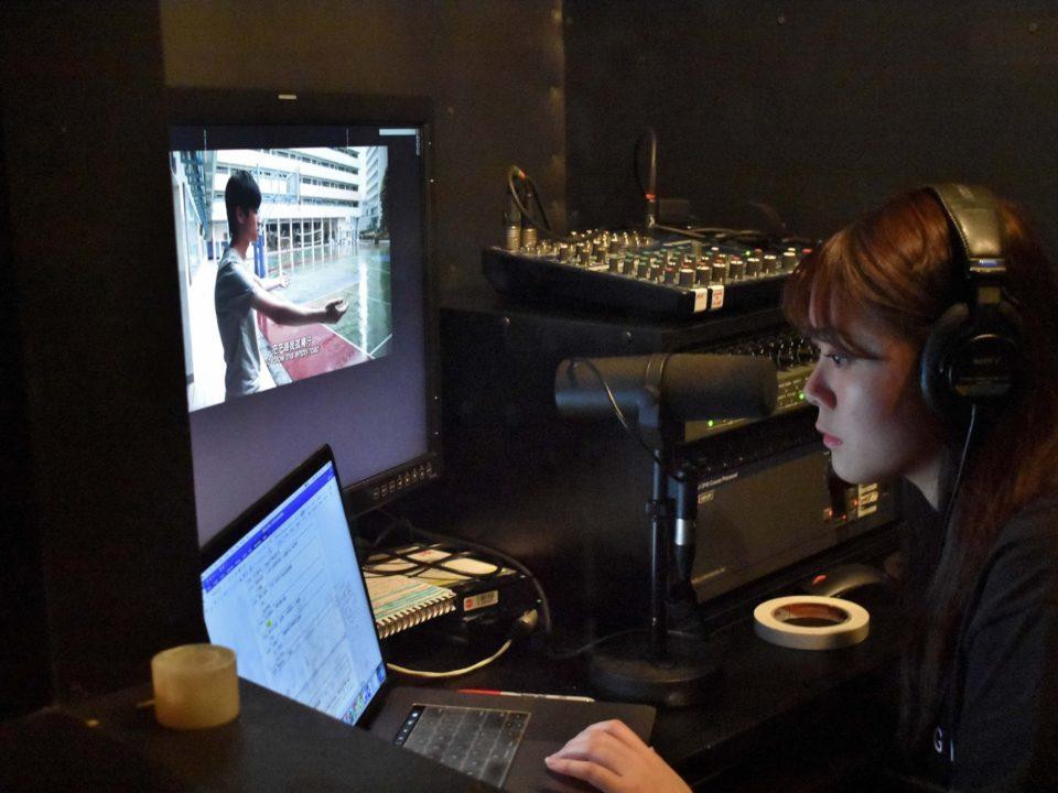 Voice actor volunteer working behind the scene